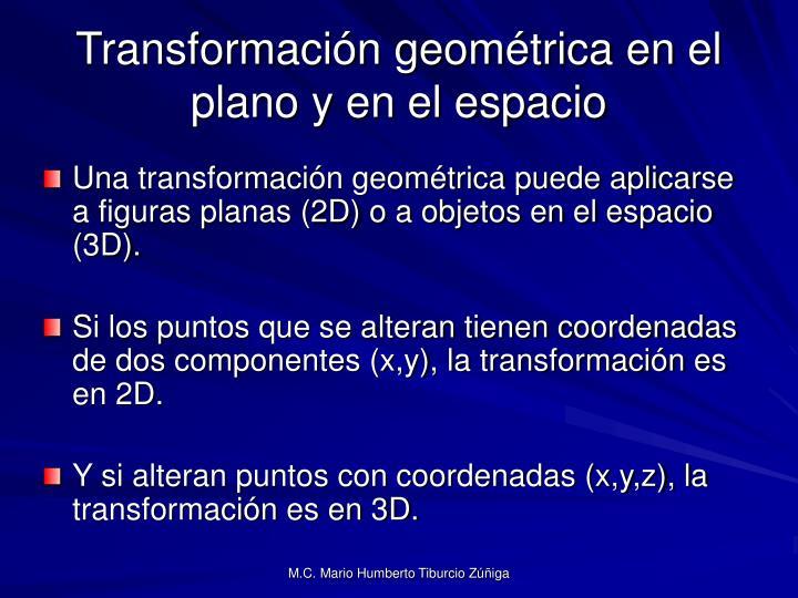 Transformación geométrica en el plano y en el espacio