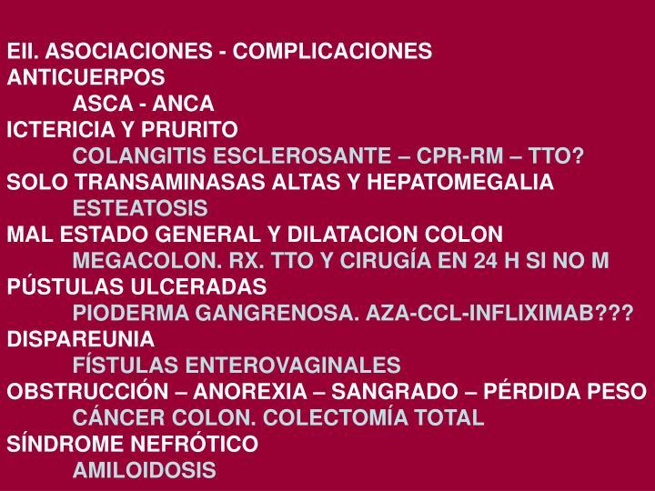 EII. ASOCIACIONES - COMPLICACIONES