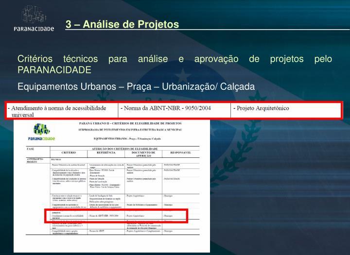 3 – Análise de Projetos