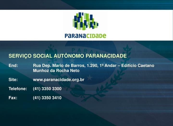 SERVIÇO SOCIAL AUTÔNOMO PARANACIDADE
