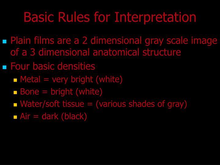 Basic Rules for Interpretation