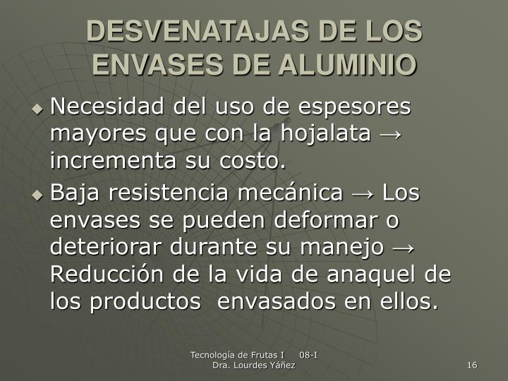 DESVENATAJAS DE LOS ENVASES DE ALUMINIO