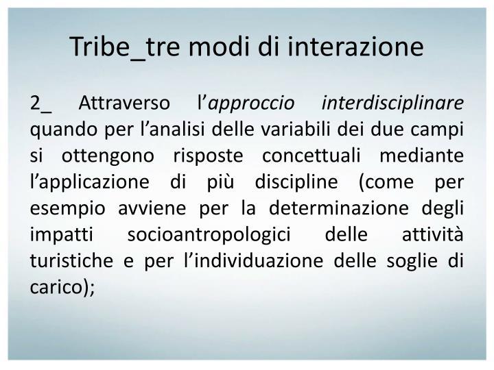 Tribe_tre modi di interazione