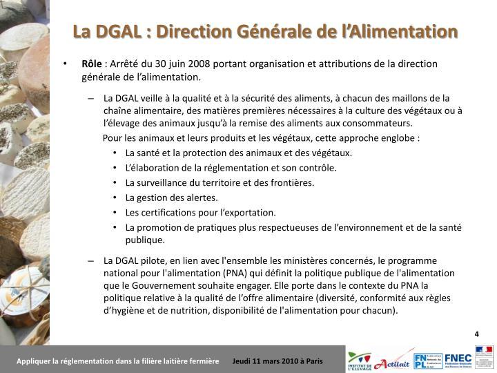 La DGAL : Direction Générale de l'Alimentation