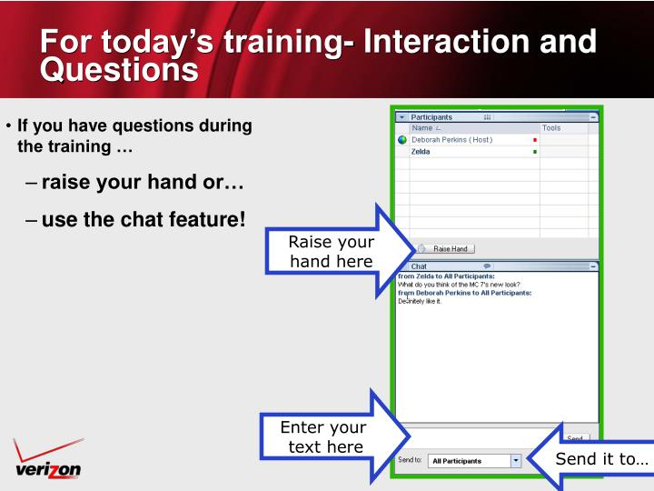 For today's training- Interaction and Questions