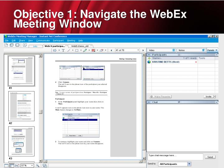Objective 1: Navigate the WebEx Meeting Window