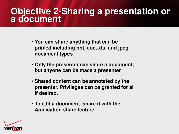 Objective 2-Sharing a presentation or a document