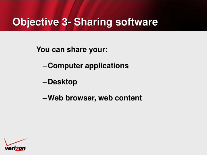 Objective 3- Sharing software