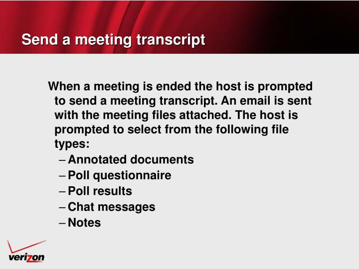 Send a meeting transcript