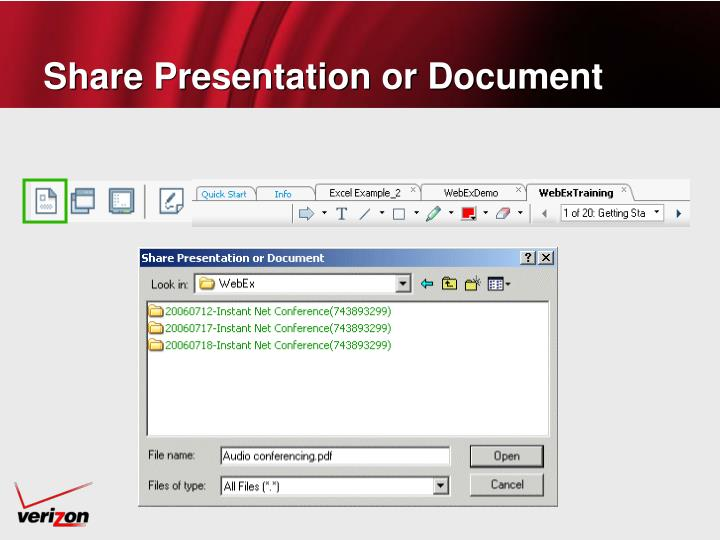 Share Presentation or Document