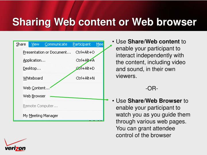 Sharing Web content or Web browser