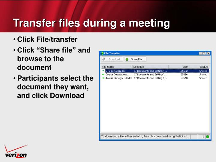 Transfer files during a meeting