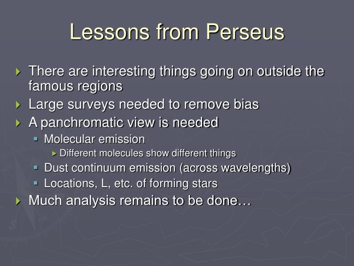 Lessons from Perseus