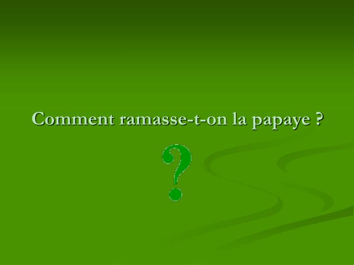 Comment ramasse-t-on la papaye ?