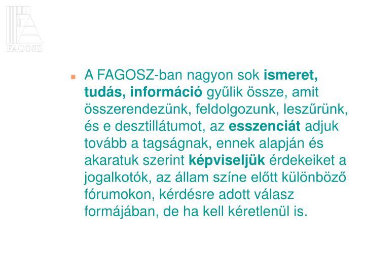 A FAGOSZ-ban nagyon sok