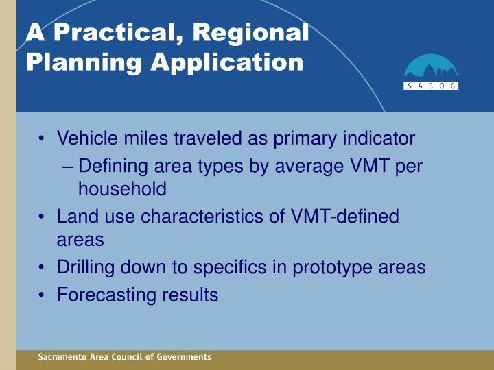 Vehicle miles traveled as primary indicator