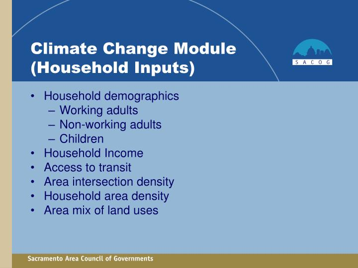 Climate Change Module (Household Inputs)