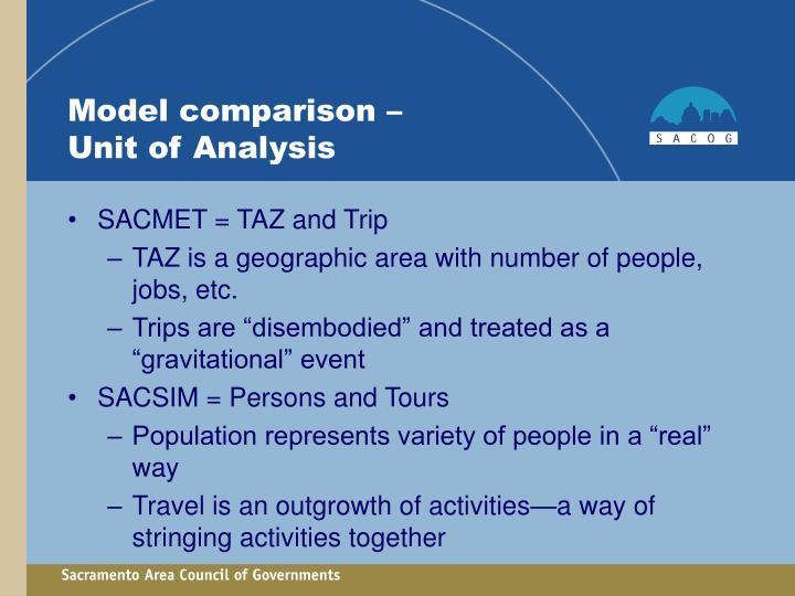 Model comparison –