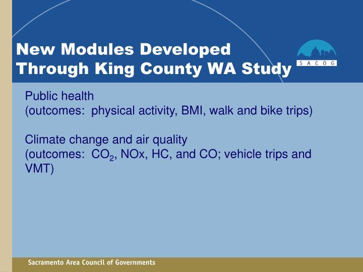 New Modules Developed Through King County WA Study