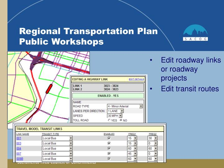 Edit roadway links or roadway projects