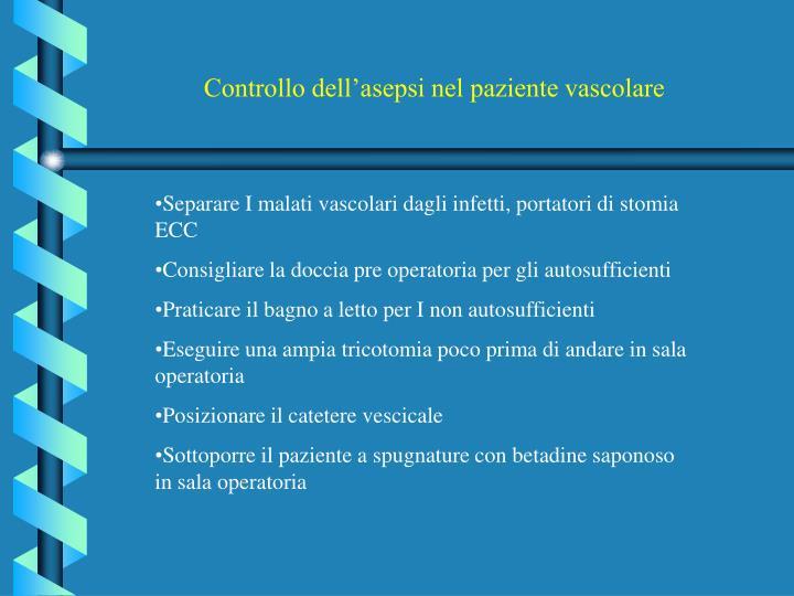 Controllo dell'asepsi nel paziente vascolare