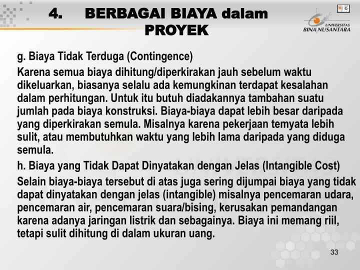 4. BERBAGAI BIAYA dalam PROYEK