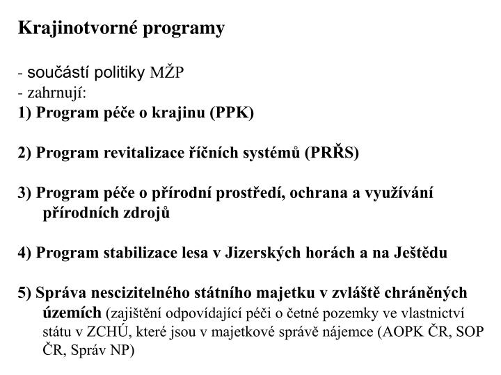 Krajinotvorn programy