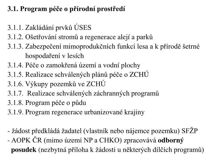 3.1. Program péče opřírodní prostředí
