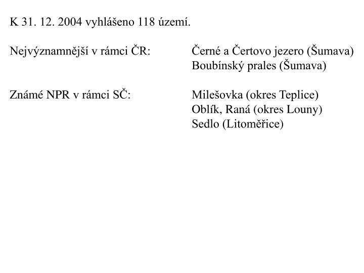 K 31. 12. 2004 vyhlášeno 118 území.