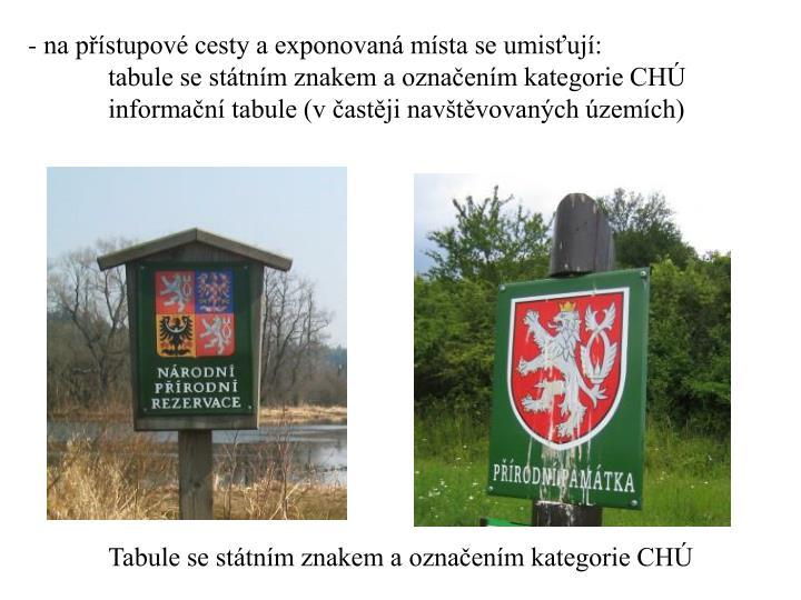 na přístupové cesty a exponovaná místa se umisťují: