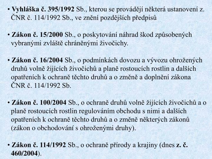 Vyhláška č. 395/1992
