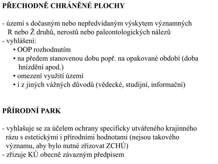 PECHODN CHRNN PLOCHY