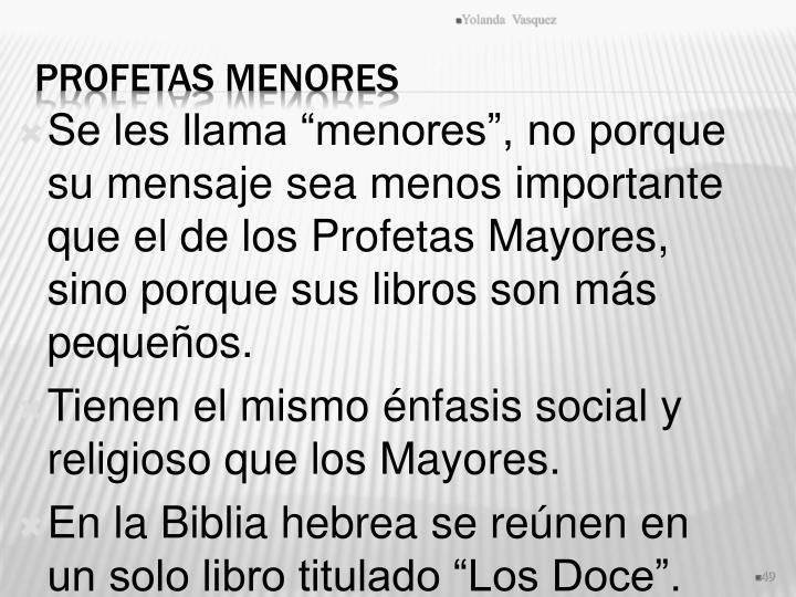 """Se les llama """"menores"""", no porque su mensaje sea menos importante que el de los Profetas Mayores, sino porque sus libros son más pequeños."""