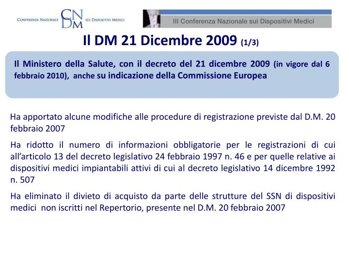 Il DM 21 Dicembre 2009