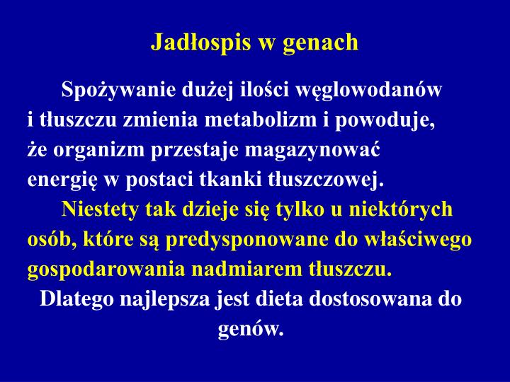 Jadłospis w genach