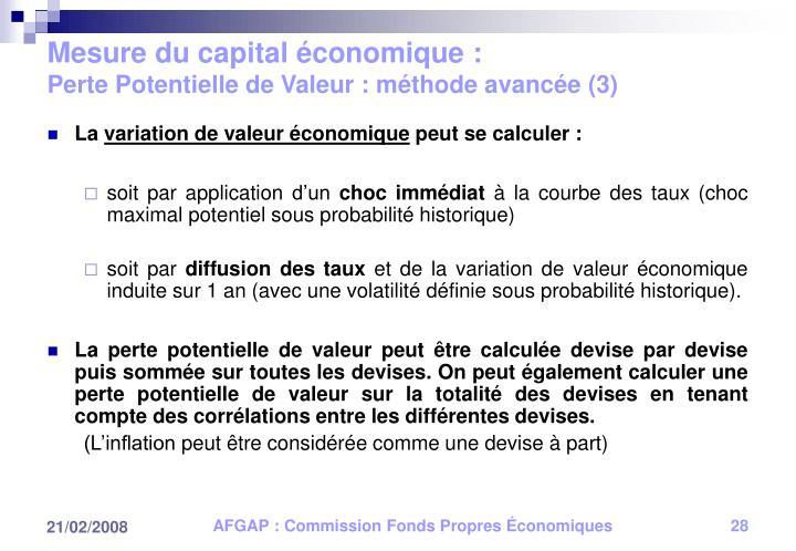 Mesure du capital économique :