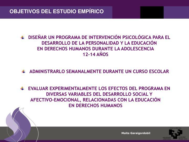 OBJETIVOS DEL ESTUDIO EMPÍRICO