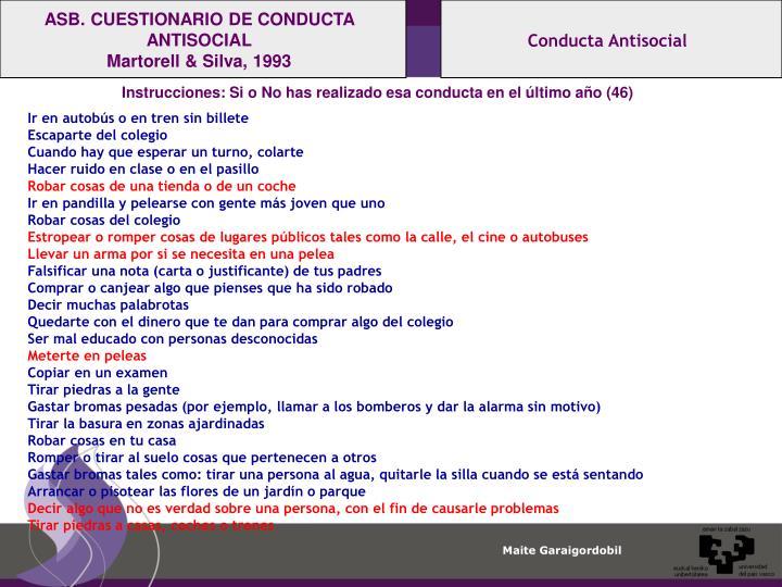 ASB. CUESTIONARIO DE CONDUCTA ANTISOCIAL
