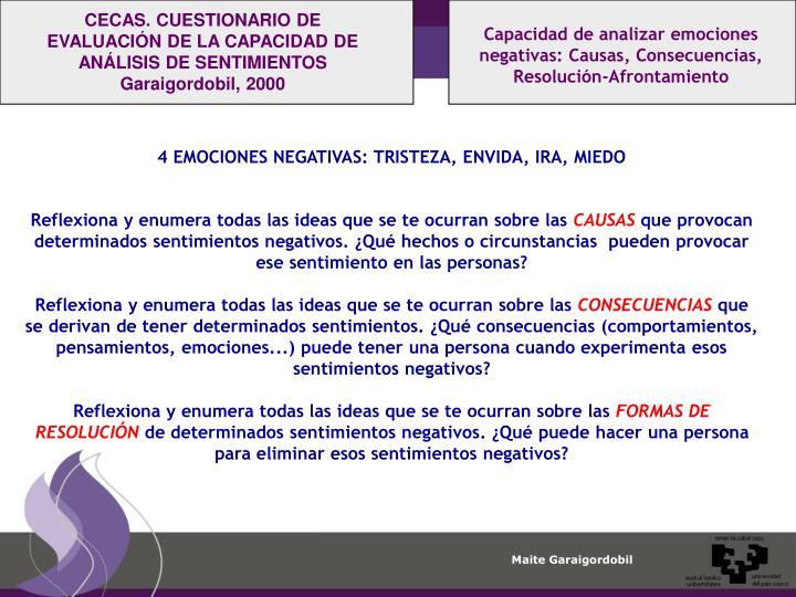 CECAS. CUESTIONARIO DE EVALUACIÓN DE LA CAPACIDAD DE ANÁLISIS DE SENTIMIENTOS