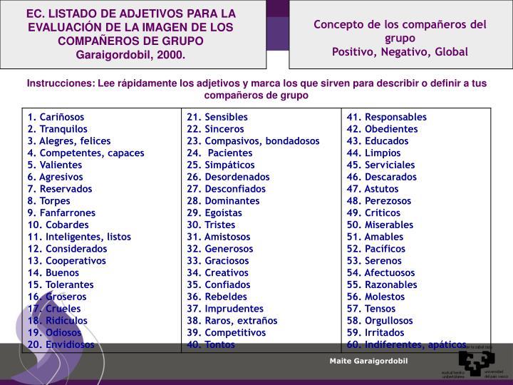 EC. LISTADO DE ADJETIVOS PARA LA EVALUACIÓN DE LA IMAGEN DE LOS COMPAÑEROS DE GRUPO Garaigordobil, 2000.