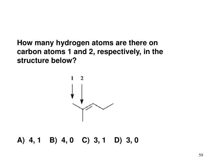 How many hydrogen atoms are there on carbon atoms 1 and 2, respectively, in the structure below?
