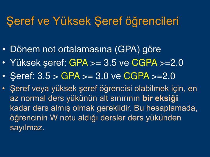 Dönem not ortalamasına (GPA) göre