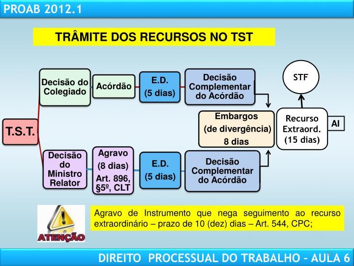 TRÂMITE DOS RECURSOS NO TST