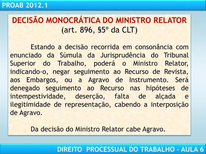 DECISÃO MONOCRÁTICA DO MINISTRO RELATOR