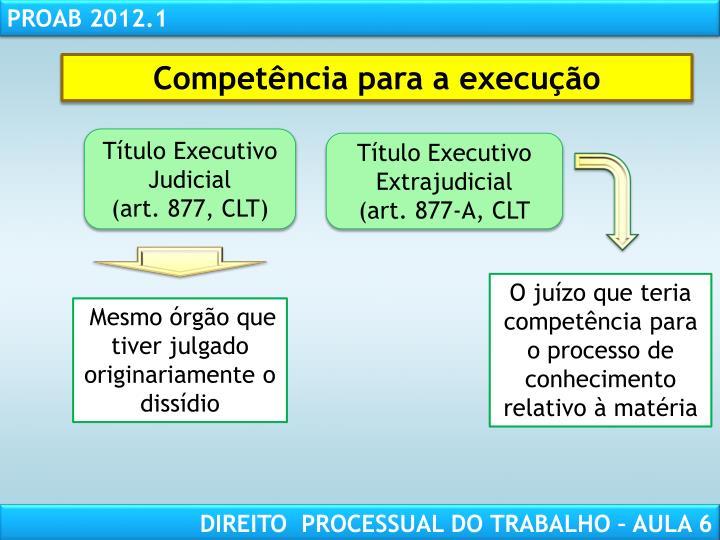 Competência para a execução