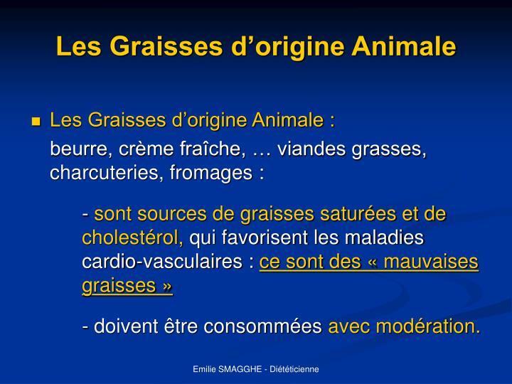 Les Graisses d'origine Animale