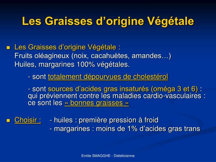 Les Graisses d'origine Végétale