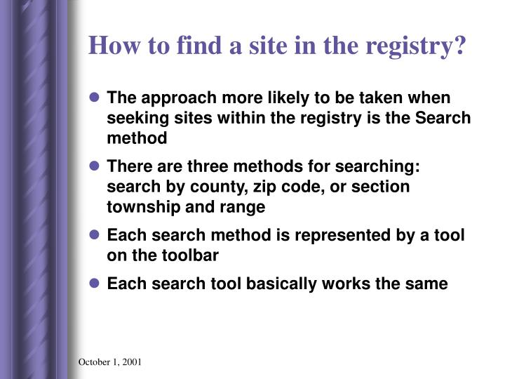 How to find a site in the registry?