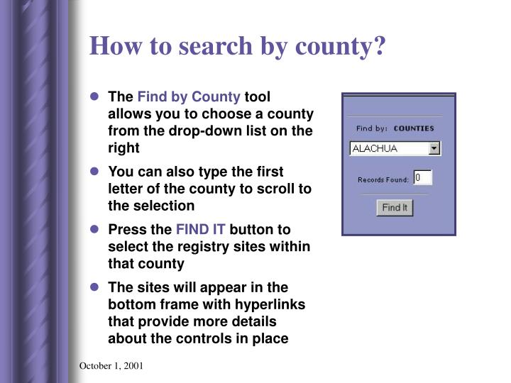 How to search by county?