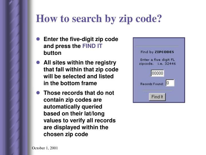 How to search by zip code?